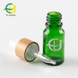 bottiglia di vetro verde 10ml con il contagoccia di bambù
