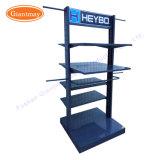Fußboden-versah stehendes Metalldoppeltes beweglicher Bildschirmanzeige-Regal-Standplatz mit Seiten
