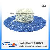 Sombrero de paja ancho del papel del borde de la playa del verano para la señora