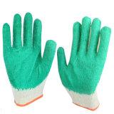 Soem-erhältliche Sicherheit, die grüne Farben-natürlicher Latex-überzogenen Handschuh bearbeitet