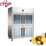 Чистосердечный супермаркет использовал 4 прозрачных стеклянных Doorscabinet/коммерчески холодного холодильник индикации питья