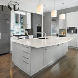 Bancada branca pura da cozinha da pedra de quartzo da cor