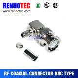 ケーブルRg58 Rg59のための直角のひだBNCのオス・コネクタ