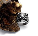 Plata de la vendimia del acero inoxidable del anillo de la cola del buho