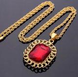 Nuevo collar pendiente de la joyería del rubí de Hip Hop 316L de la llegada