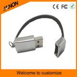 Bracelete e movimentação de couro do flash do USB com impressão seu logotipo