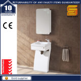 Белой шкаф мебели ванной комнаты лака установленный стеной с зеркалом
