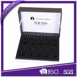 Прикрепленная на петлях коробка внимательности кожи крышки твердая рециркулированная бумажная упаковывая