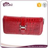 Цветастое кожаный высокое качество портмона, бумажник красной застежка-молнии реальный кожаный с крокодиловой кожей