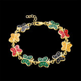 La imitación chapado en oro chapado en oro 18k Las mujeres Bracelelt brazalete de oro de la mariposa