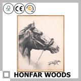 Tierpferden-klassischer Dekoration-Farbanstrich im hölzernen Rahmen