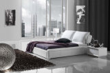 Het witte Echte Moderne Zachte Bed van het Bed van het Leer van het Meubilair van de Slaapkamer (HC179B)