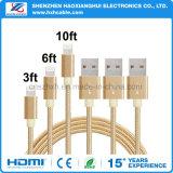 cabo Dourado-Cinzento trançado do USB da listra do nylon de 1m