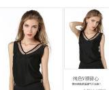 Camicetta Sleeveless della camicia della maglia chiffona casuale di estate delle donne di modo