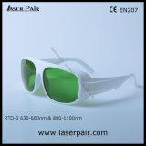 Transmissão de luz visível 35% dos óculos de segurança do laser para os lasers vermelhos 635nm + 808nm, 980nm os diodos laser com moldura branca 52