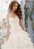 Vestido de casamento Ivory luxuoso do Flounce de Organza do espartilho do querido do plissado do plissado