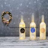 El cristal de botellas perfecto de la luz de las estrellas de los regalos de la Navidad enciende para arriba las botellas sentimentales del mensaje