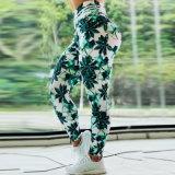 Melhor o mercado de venda de folha verde Flower Imprimir Alto Fitness calças de cintura Perneiras Ioga Pants Mulheres