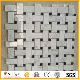 カラーラの白い大理石の石造りの小さいモザイク床のタイル、モザイク考え