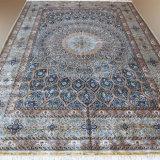 10X14 Большой синий чистый шелк ковры ручной работы Hand made двойной Knotted Иран иранского персидского стиля паломников дизайн 400 килофунтов на кв. дюйм