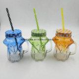 OEM forme animale Mason Food bocal en verre avec bouchon décoratifs et de paille