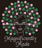 Hotfix jóias magnificamente feita menina afro Rhinestone Nailhead Transferir