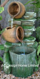 古典的な陶器のPolyresinの屋外の庭水噴水W/LEDライト