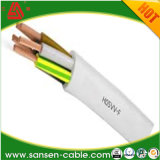 Câble d'alimentation coloré de l'homologation H05VV-F 3G1.5mm2 de personnalisation
