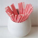 Red Rugby Striped 100% Eco-Friendly Paper Drinking Straw