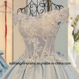 Les femmes Fleur dentelle Satin longue robe de soirée de fête Quinceanera Prom