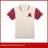 Modèle uniforme de chemise de polo de Mens de broderie faite sur commande de noir (P35)