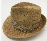 Sombrero de paja de papel con la venda de la corona del algodón asociada (Sh048)