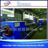 Máquina de chanfradura da estaca do plasma do perfil da tubulação de aço do CNC para as tubulações redondas e a câmara de ar quadrada Kr-Xf8 de /Rectangular