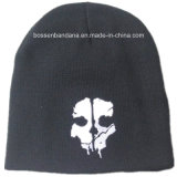 O preto acrílico do Beanie da malha do inverno morno barato da fábrica de China bordado ostenta o chapéu do Beanie