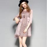Alineada rosada floral de las mujeres de la manera con Falbala para la ropa del invierno