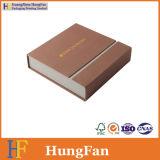 Rectángulo de regalo de sellado caliente del papel de embalaje de la insignia de la alta calidad