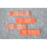 Contrassegno arancione luminoso dell'indumento personalizzato fabbrica, contrassegno tessuto