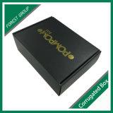 Caja de cartón ondulado negro mate con oro Hot Stamping de embalaje de bosque (025)