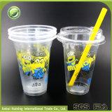 Copos 16oz/500ml plásticos resistentes ao calor desobstruídos com tampas seladas