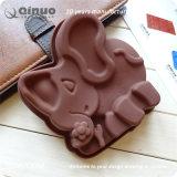 Molde pequeno do elefante do silicone da cor do chocolate para o doce do bolinho