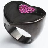方法宝石類の中心は紫色のジルコンのステンレス鋼のリングをつなぐ