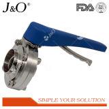 Válvula de borboleta de soldadura de punho de aço inoxidável sanitário em aço inoxidável