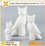 Mestiere di ceramica bianco del supporto di candela del Figurine del gufo per la decorazione domestica