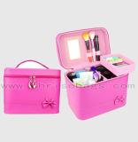 De populaire Kosmetische Zak van Dame Mirror Travel Organizer Makeup Zak Pu met Handvatten