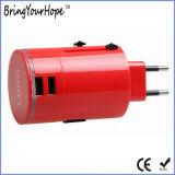 Красная штепсельная вилка перемещения цилиндра с двойным заряжателем USB (XH-UC-010)