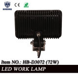 Punto ligero 12V 24V LED de conducción de la fábrica del trabajo campo a través directo de la luz 72W LED o viga de la inundación (HB-D3072 72W)