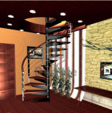 Escadaria espiral de madeira com aço inoxidável Railling