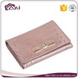 Carteira nova da cor-de-rosa da chegada para mulheres, carteiras do couro genuíno das mulheres do crocodilo