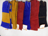 Versterkte Handschoenen van de Lasser van de Koe van Ddsafety 2017 de Blauwe Gespleten met Geel