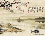 A grande fortuna vem com cenário bonito de florescência do rio das flores com pintura a óleo das flores e dos pássaros